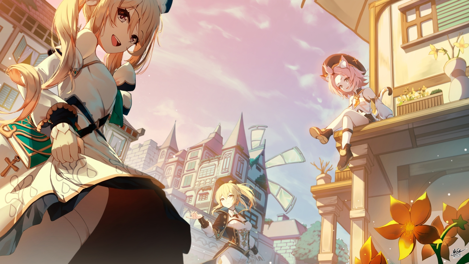 animal_ears barbara_pegg blonde_hair building catgirl cat_smile city clouds diona_(genshin_impact) flowers genshin_impact jean_gunnhildr long_hair magica ponytail signed sky tail twintails windmill
