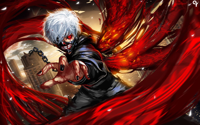 all_male blood chain kaneki_ken liang_xing male mask red_eyes short_hair tokyo_ghoul white_hair