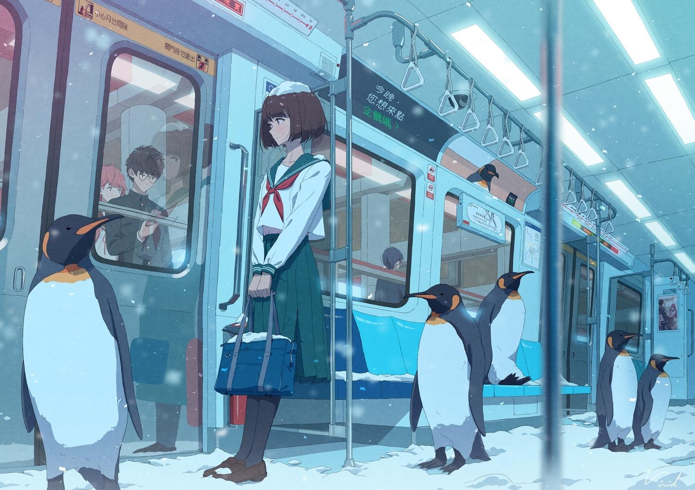 animal bibido brown_hair glasses male original penguin reflection school_uniform short_hair signed skirt snow train