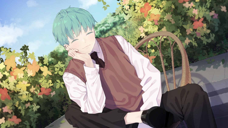 agnamore all_male clouds flowers green_hair leaves male original school_uniform short_hair sky tie waifu2x