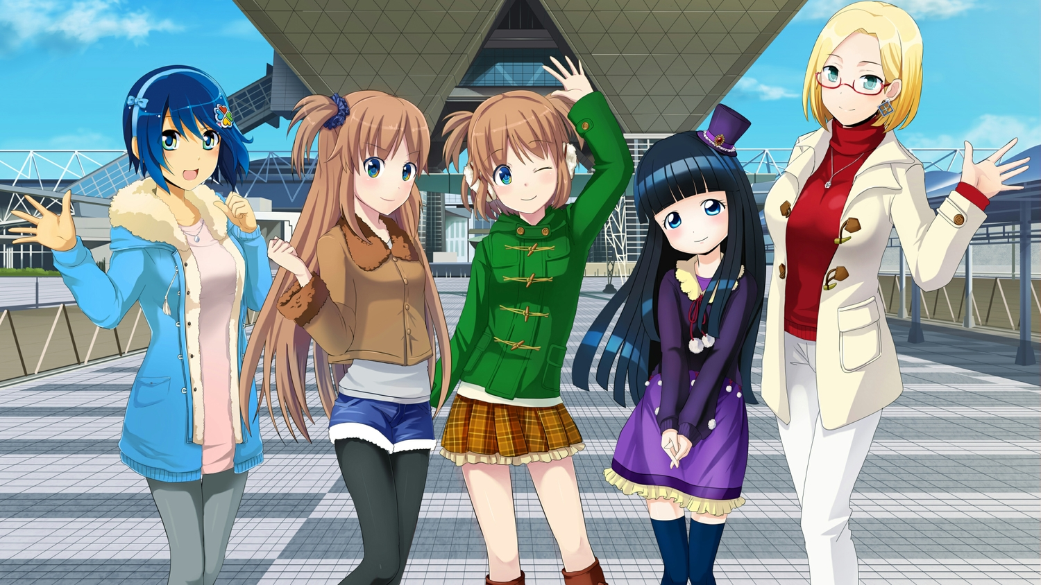 aqua_eyes black_hair blonde_hair blue_eyes blue_hair brown_hair claudia_madobe glasses hat headband long_hair madobe_ai madobe_nanami madobe_yuu microsoft os-tan pantyhose ponytail short_hair shorts skirt tagme_(character) thighhighs twins windows