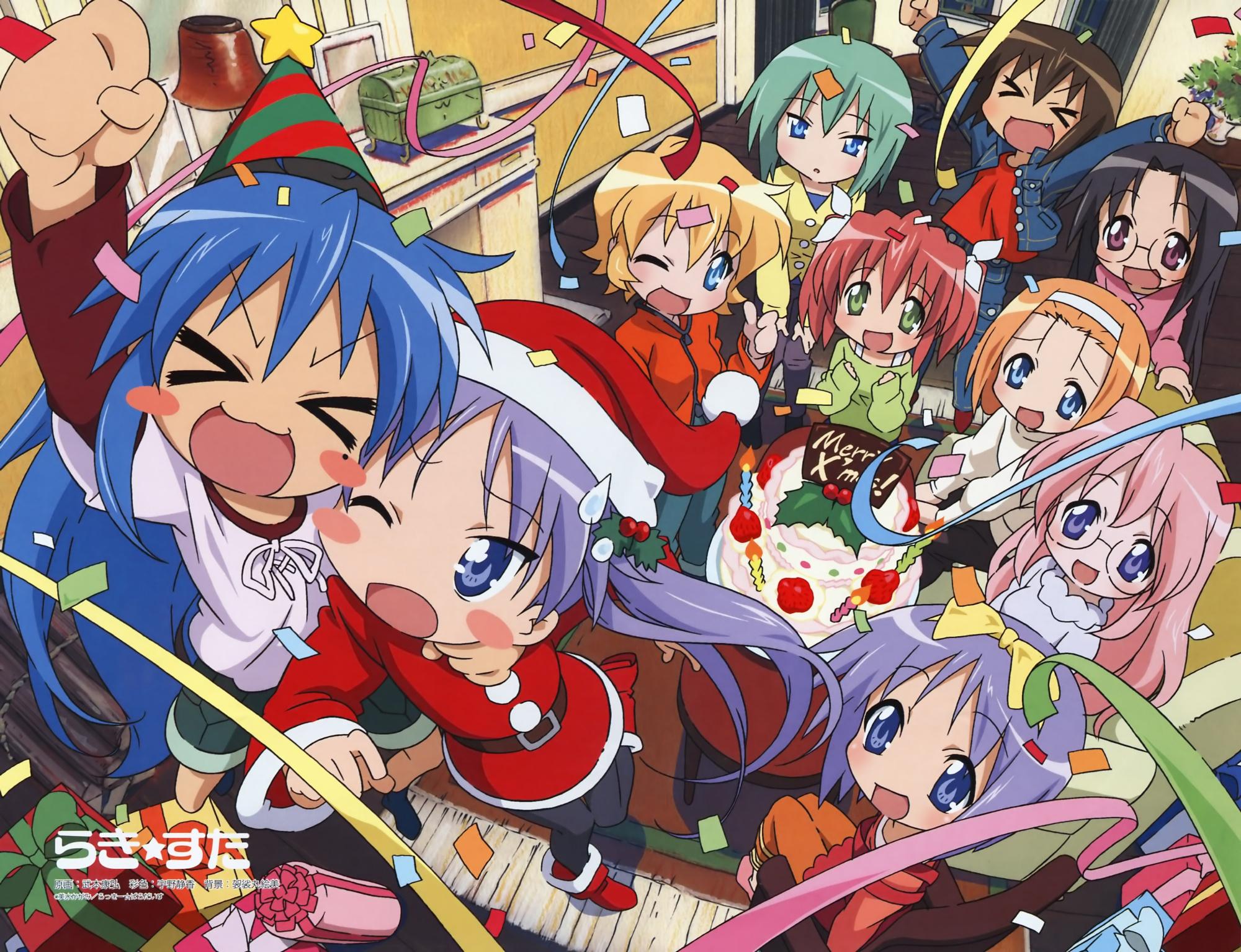 christmas group hiiragi_kagami hiiragi_tsukasa izumi_konata lucky_star takara_miyuki
