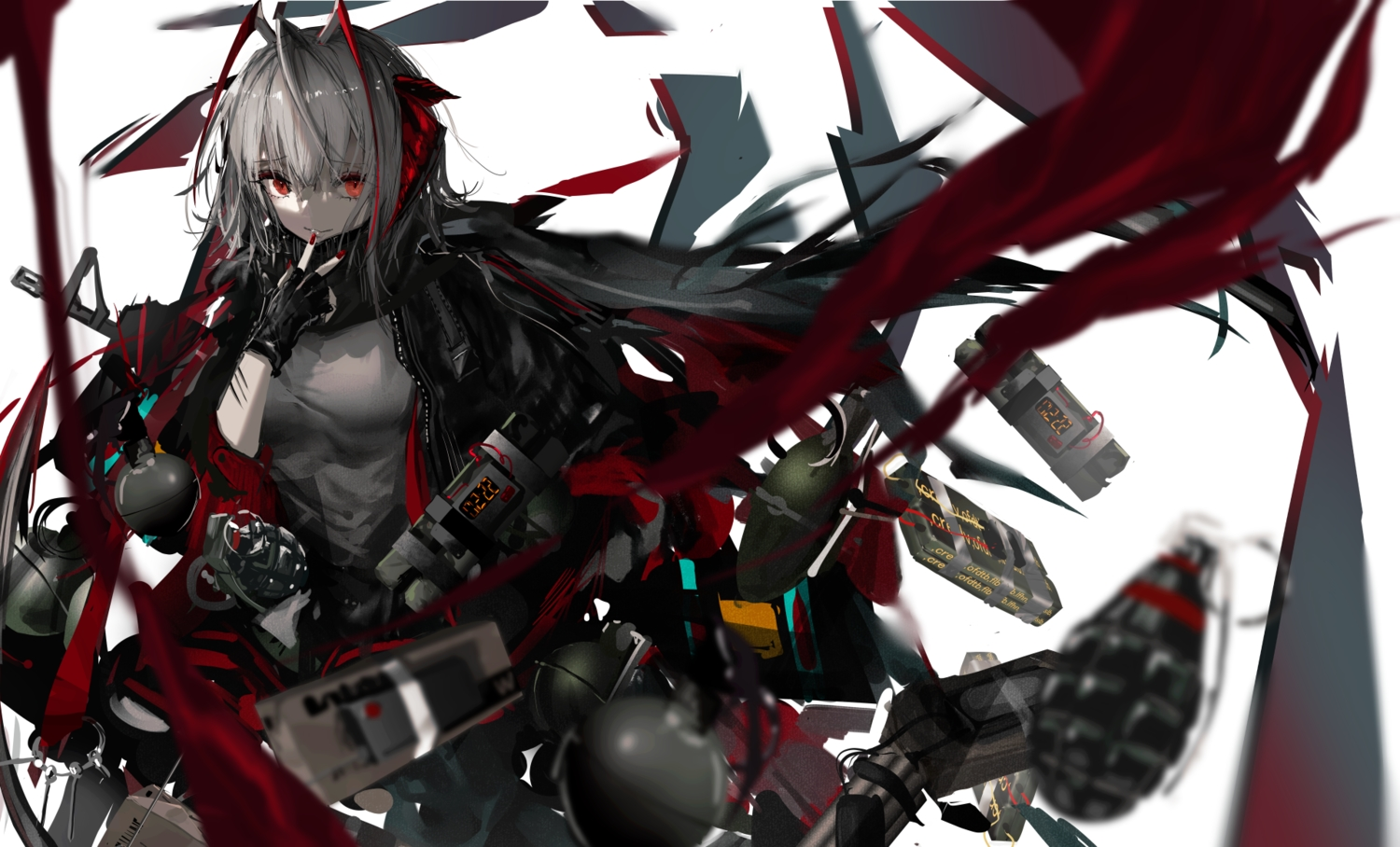 aliasing arknights gloves gray_hair horns naruwe polychromatic red_eyes scarf w_(arknights) weapon