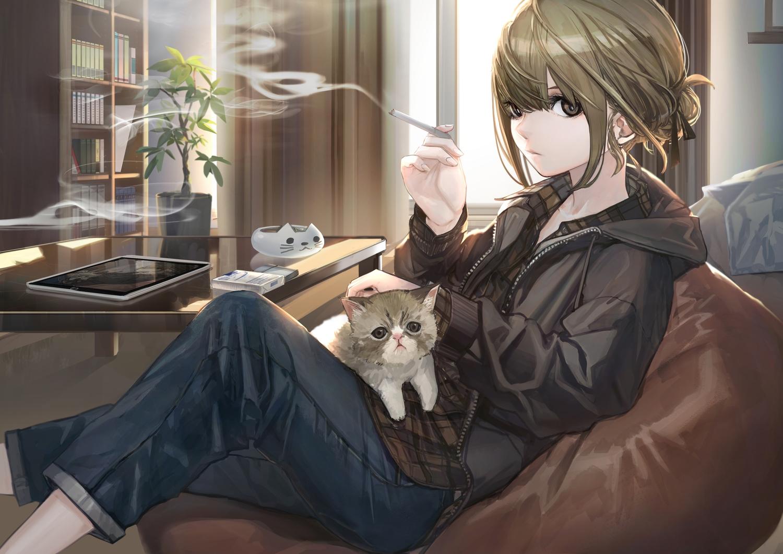 animal cat hashimoto_kokai original smoking tagme