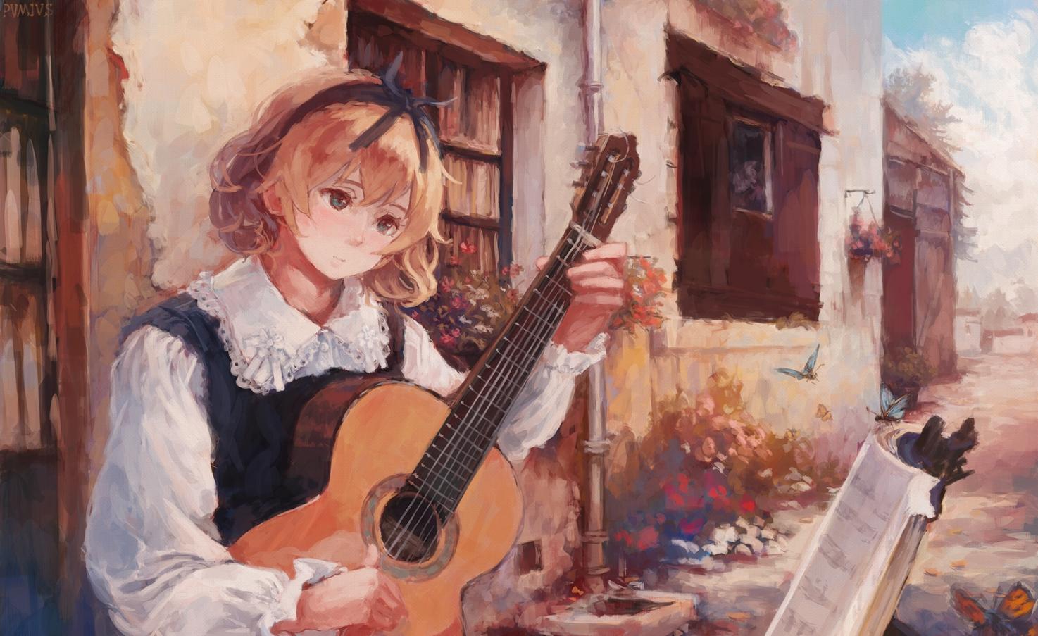 animal blonde_hair blue_eyes butterfly clouds guitar instrument original pvmivs short_hair sky