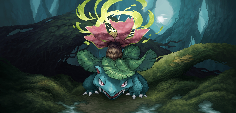 fang forest leaves pokemon tagme_(artist) tree venusaur