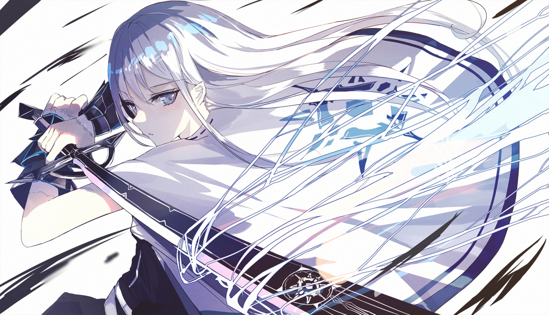 beckzawachi cape gray_eyes gray_hair katana long_hair magic original polychromatic sword weapon