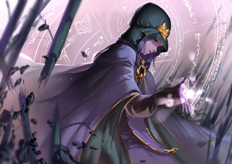 blue_eyes cape fate_(series) fate/stay_night gloves hon_(loliconxh123) magic medea_(fate) purple_hair