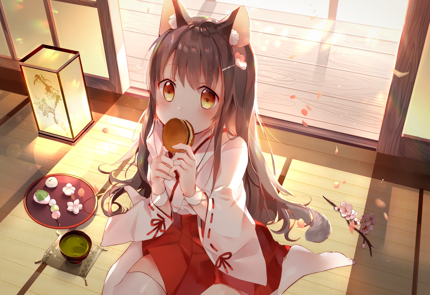 amafuyu animal_ears barefoot blush brown_hair catgirl cherry_blossoms drink flowers food japanese_clothes long_hair miko original tail thighhighs yellow_eyes