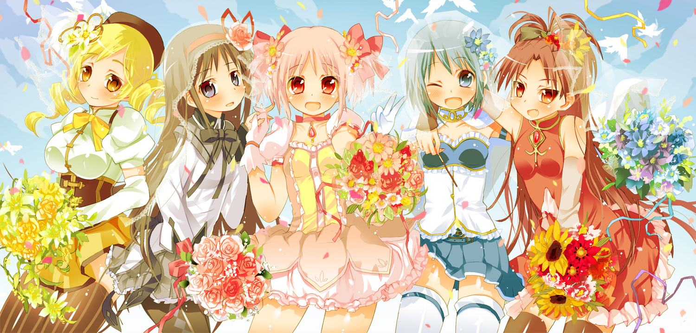 akemi_homura flowers kaname_madoka mahou_shoujo_madoka_magica miki_sayaka sakura_kyouko sodapop_(iemaki) tomoe_mami