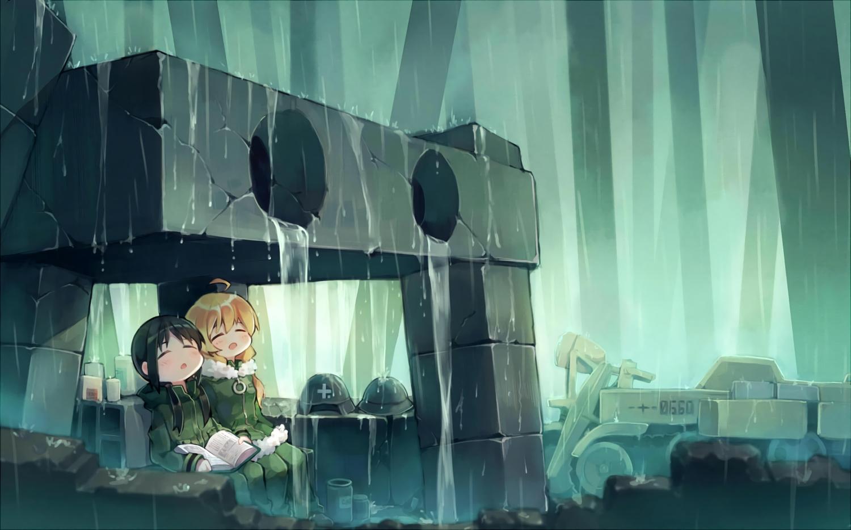 2girls black_hair blonde_hair blush book chito dianche_miao_(18826) hat military rain shoujo_shuumatsu_ryoukou sleeping uniform water yuuri