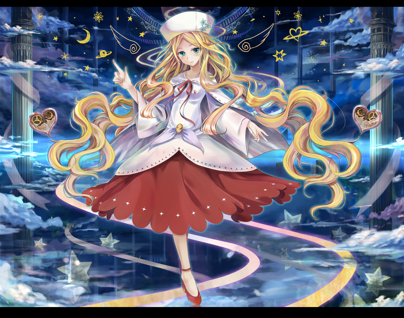 akabane_(zebrasmise) aqua_eyes blonde_hair blue_eyes blush cattleya_(pokemon) clouds dress hat long_hair night pokemon ribbons skirt stars