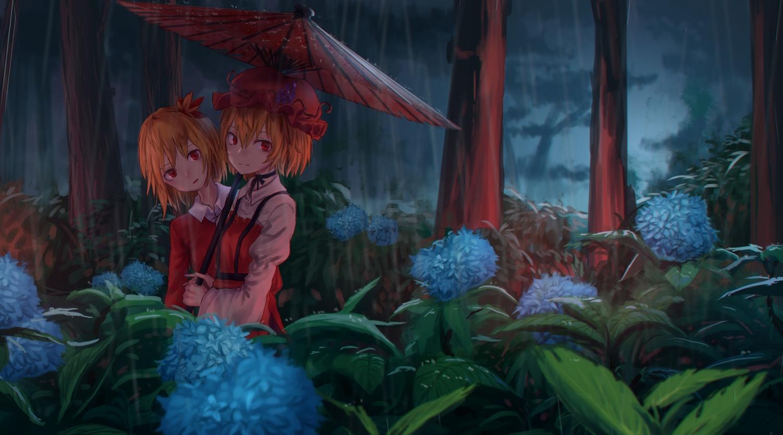 2girls aki_minoriko aki_shizuha dark dress flowers forest hat orange_hair rain red_eyes roke_(taikodon) short_hair touhou tree umbrella water