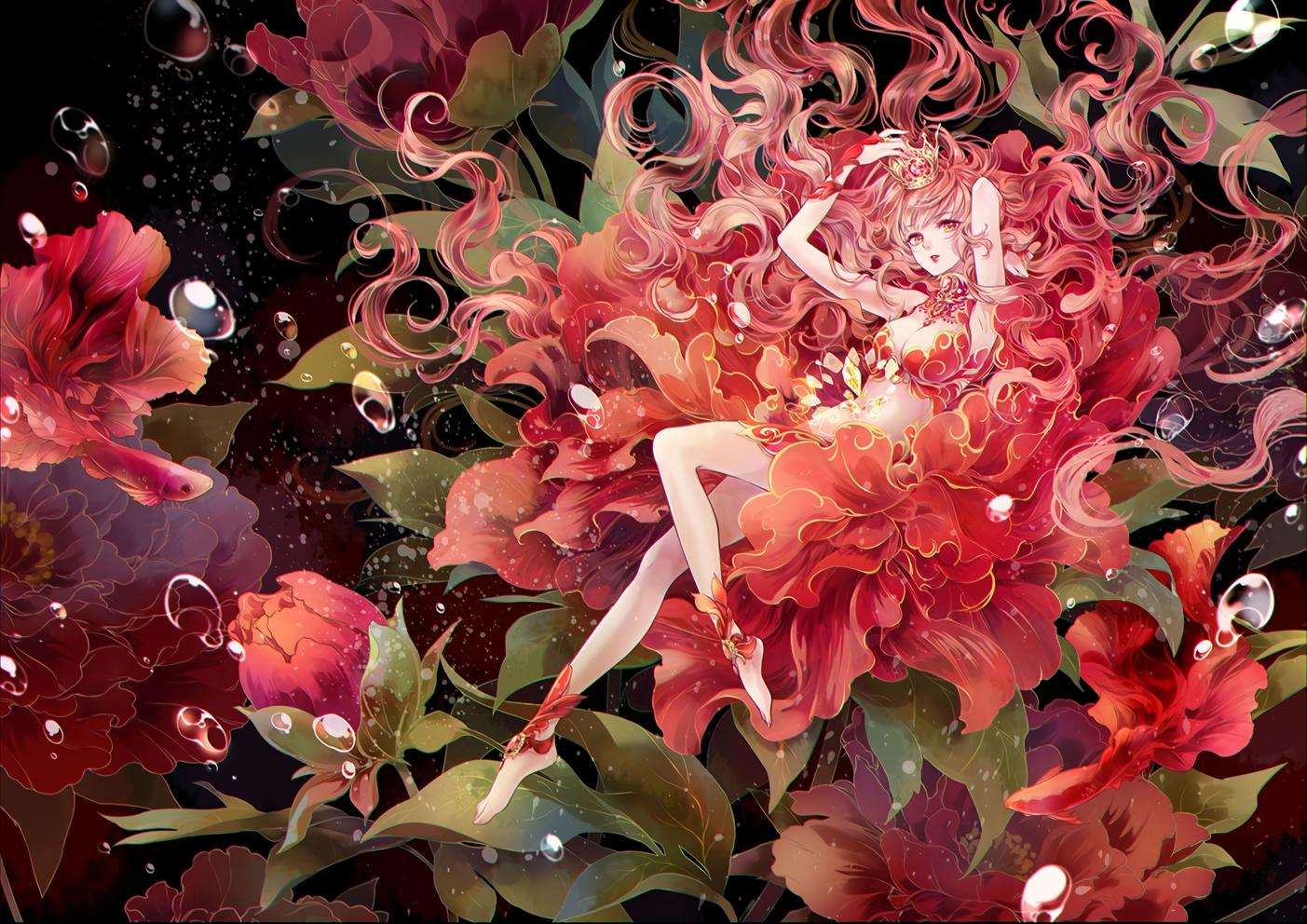 animal barefoot breasts bubbles cleavage crown dekitani fish flowers leaves long_hair original underwater water yellow_eyes