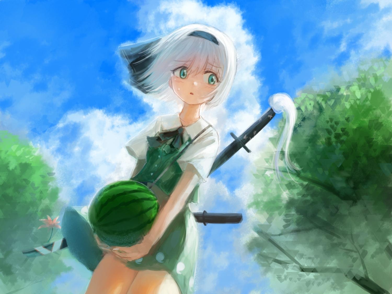 clouds food fruit green_eyes headband katana konpaku_youmu rin_(rin7kan7) short_hair skirt sky sword touhou tree watermelon weapon white_hair