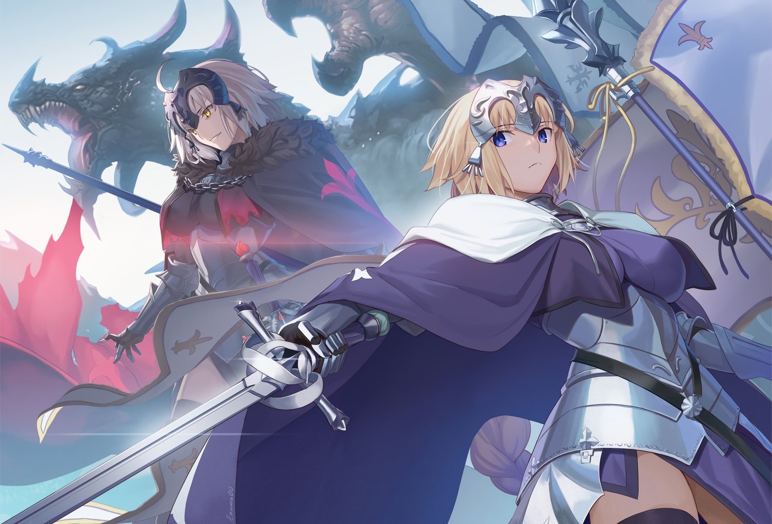 2girls aora armor blonde_hair blue_eyes cape dragon fate/grand_order fate_(series) gloves gray_hair jeanne_d'arc_alter jeanne_d'arc_(fate) long_hair ponytail short_hair signed sword weapon yellow_eyes