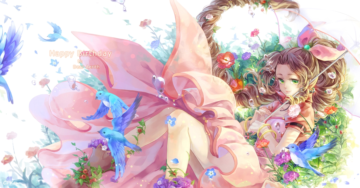 aerith_gainsborough animal bird brown_hair cat_princess dress final_fantasy final_fantasy_vii flowers green_eyes leaves long_hair umbrella wristwear