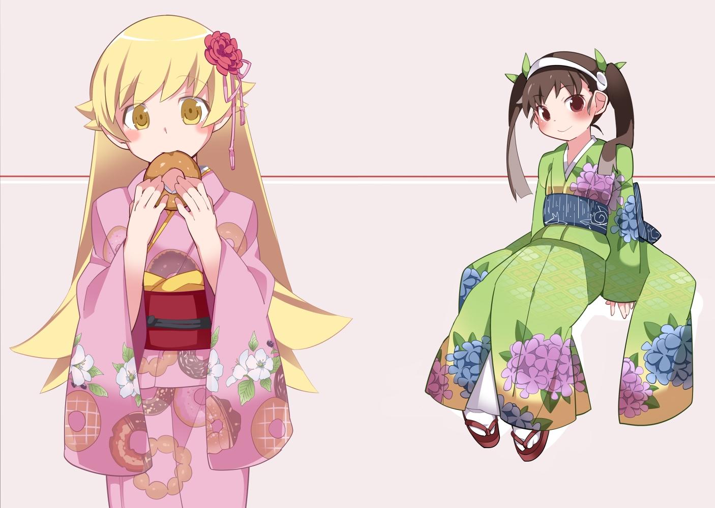 2girls bakemonogatari hachikuji_mayoi hammer_(sunset_beach) japanese_clothes kimono loli monogatari_(series) oshino_shinobu