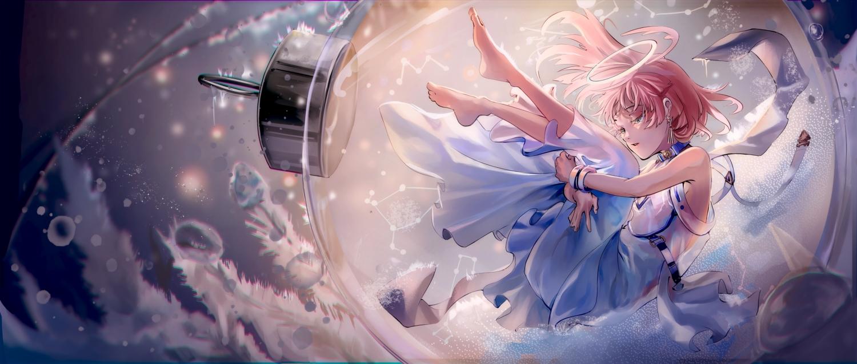 angel barefoot collar dress green_eyes halo original o-sd! pink_hair short_hair underwater water wristwear