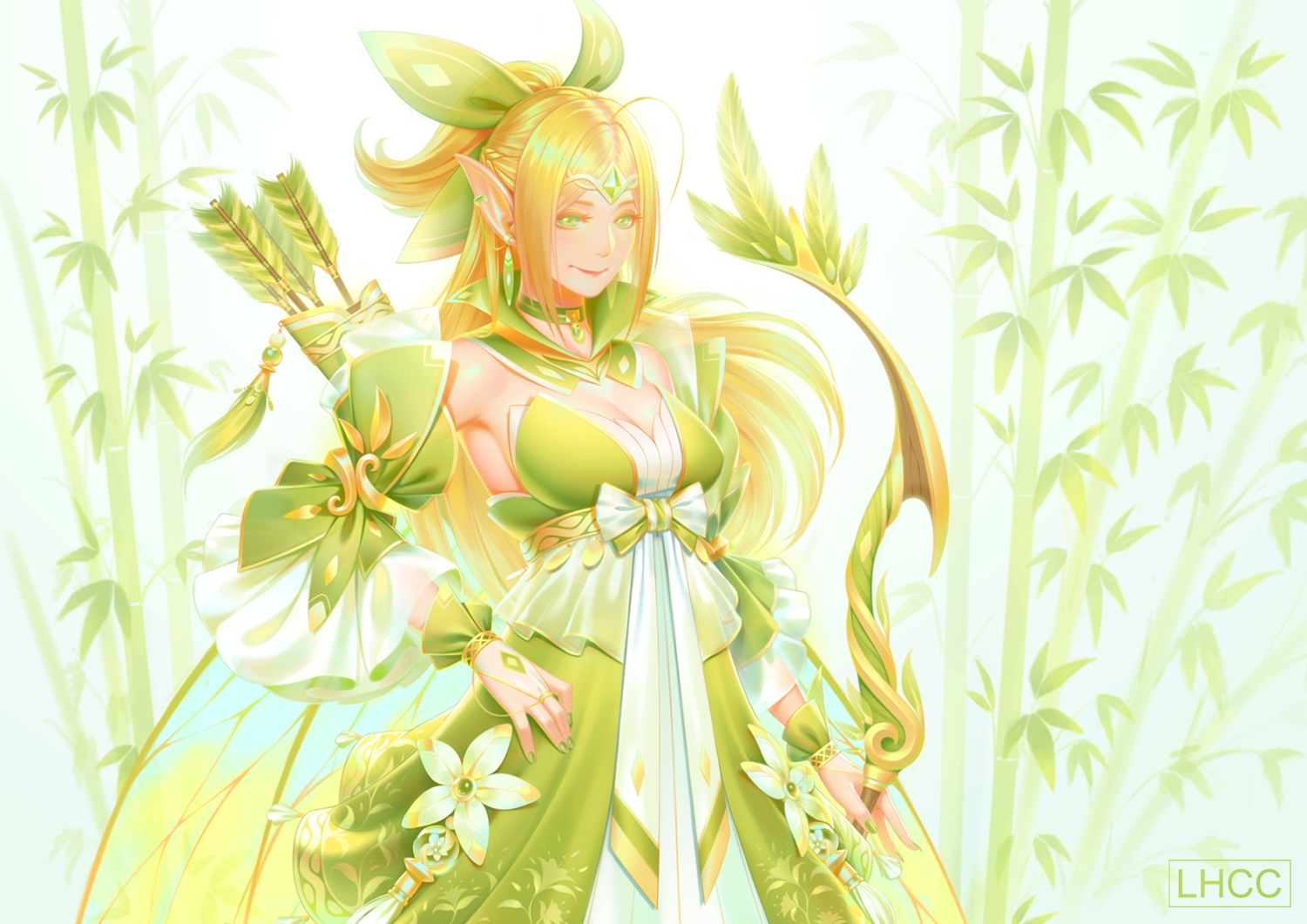 blonde_hair bow_(weapon) braids breasts cleavage green_eyes long_hair louishung original pointed_ears ponytail weapon