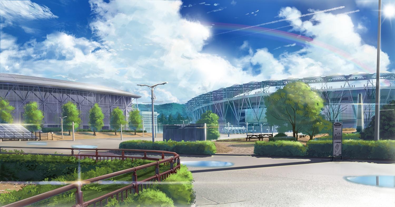 building clouds grass nasu nobody original rainbow scenic sky water