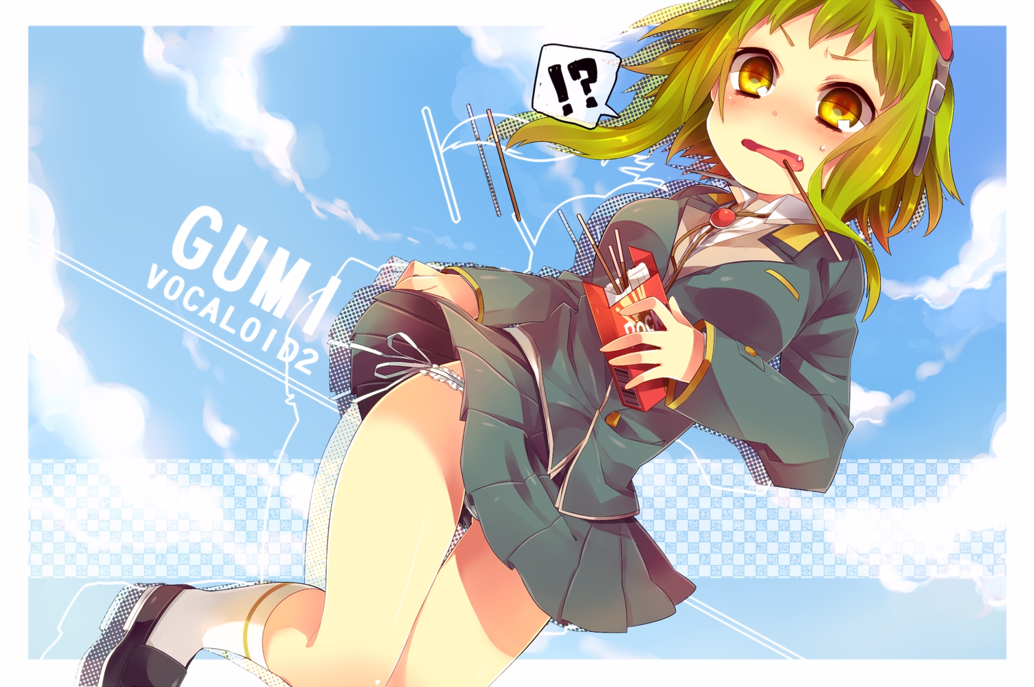 blush food goggles green_hair gumi haruka_(haru) pocky school_uniform skirt vocaloid yellow_eyes