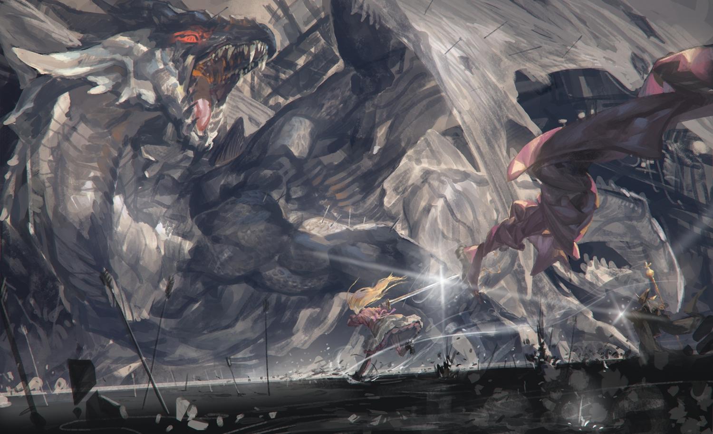alcd blonde_hair dragon dress gray_hair long_hair original pixiv_fantasia staff sword weapon