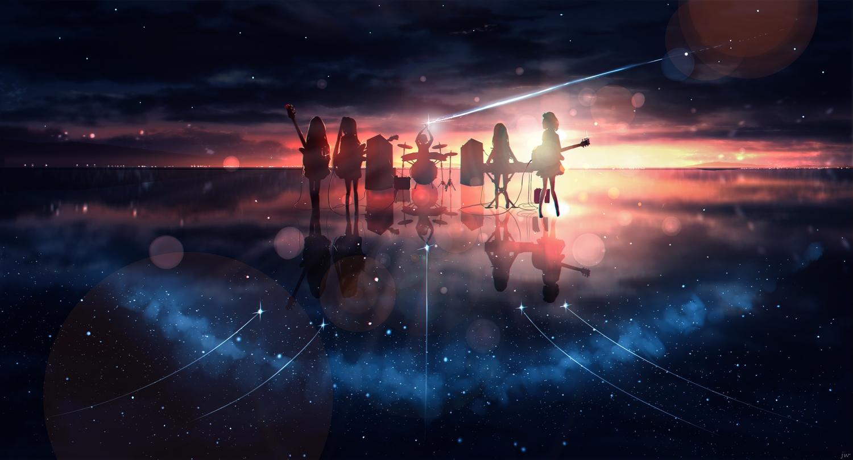 clouds group guitar instrument original piano polychromatic reflection scenic silhouette sky skyrick9413 stars sunset