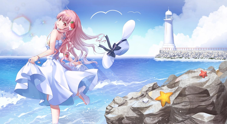 clouds dress hat hyonee lighthouse long_hair original pink_eyes pink_hair sky summer_dress water wristwear