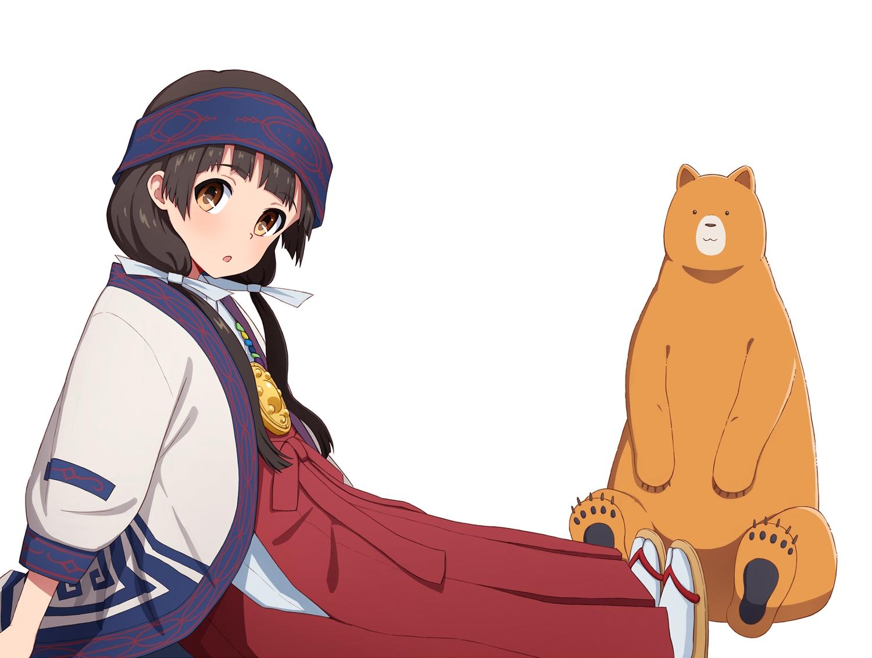 amayadori_machi animal bear japanese_clothes kumai_natsu kumamiko loli miko tagme_(artist) white