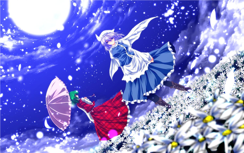 2girls apron blue_eyes boots cape dress flowers green_hair hat kazami_yuuka letty_whiterock moon nekominase purple_hair red_eyes short_hair touhou umbrella