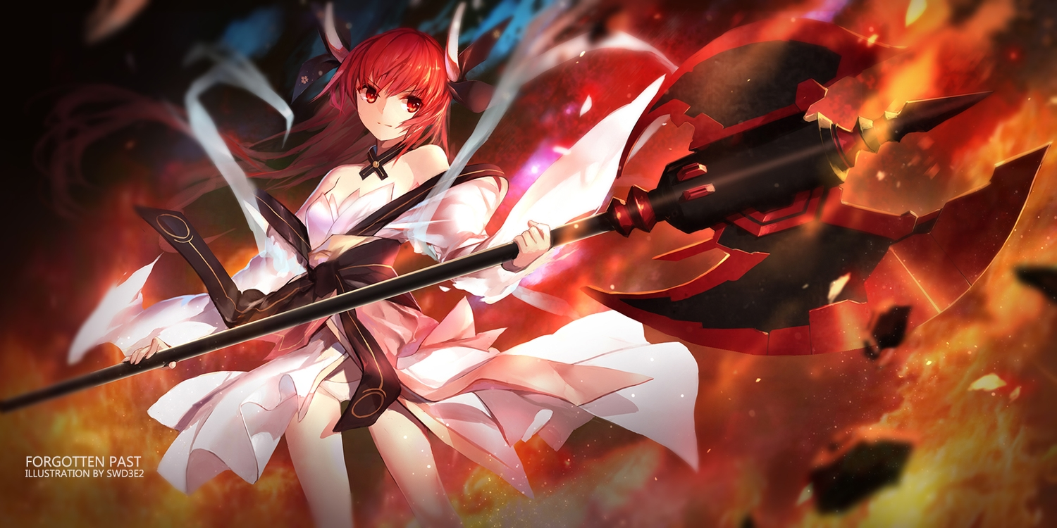 date_a_live fire itsuka_kotori japanese_clothes lolita_fashion long_hair red_eyes red_hair swd3e2 weapon