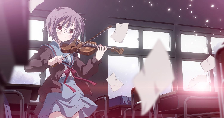 brown_eyes glasses instrument izumi_bell nagato_yuki paper purple_hair school_uniform short_hair suzumiya_haruhi_no_yuutsu violin waifu2x
