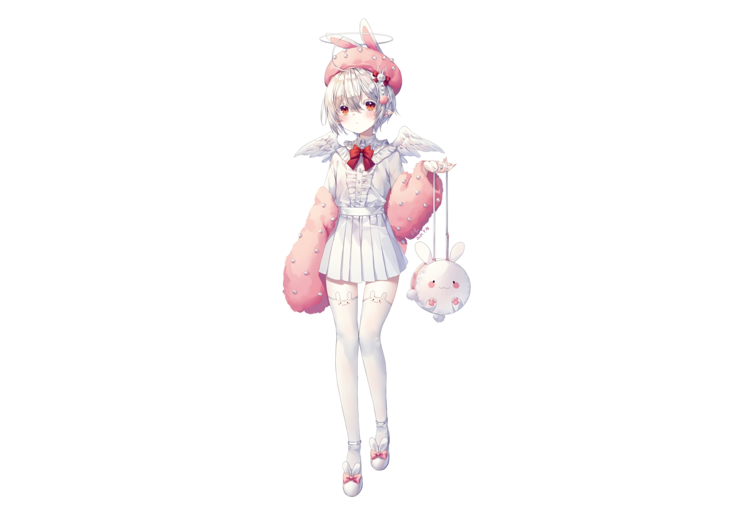 albinoraccoon all_male animal_ears blush bunny_ears cat_smile gray_hair hat male original pointed_ears red_eyes shirt short_hair signed skirt thighhighs trap white wings zettai_ryouiki