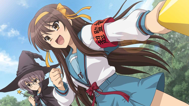 2girls blush bow brown_eyes brown_hair cape game_cg glasses hat headband long_hair nagato_yuki purple_hair ribbons school_uniform suzumiya_haruhi suzumiya_haruhi_no_tsuisou suzumiya_haruhi_no_yuutsu tree wand
