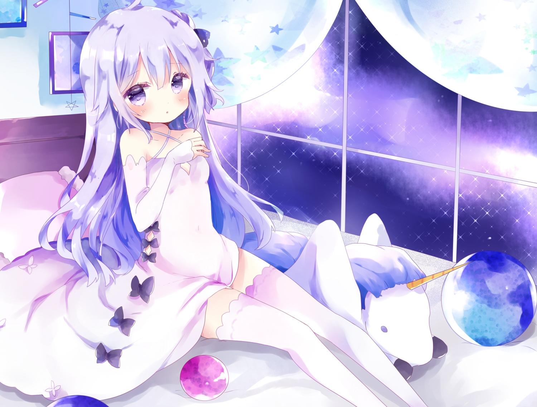 anthropomorphism azur_lane bed blush bow cropped dress long_hair purple_eyes purple_hair thighhighs tsukiyo_(skymint) unicorn_(azur_lane) zettai_ryouiki