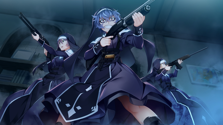 front_wing game_cg gloves grisaia:_phantom_trigger gun nun red_eyes short_hair tagme_(character) velvet_(grisaia:_phantom_trigger) watanabe_akio weapon