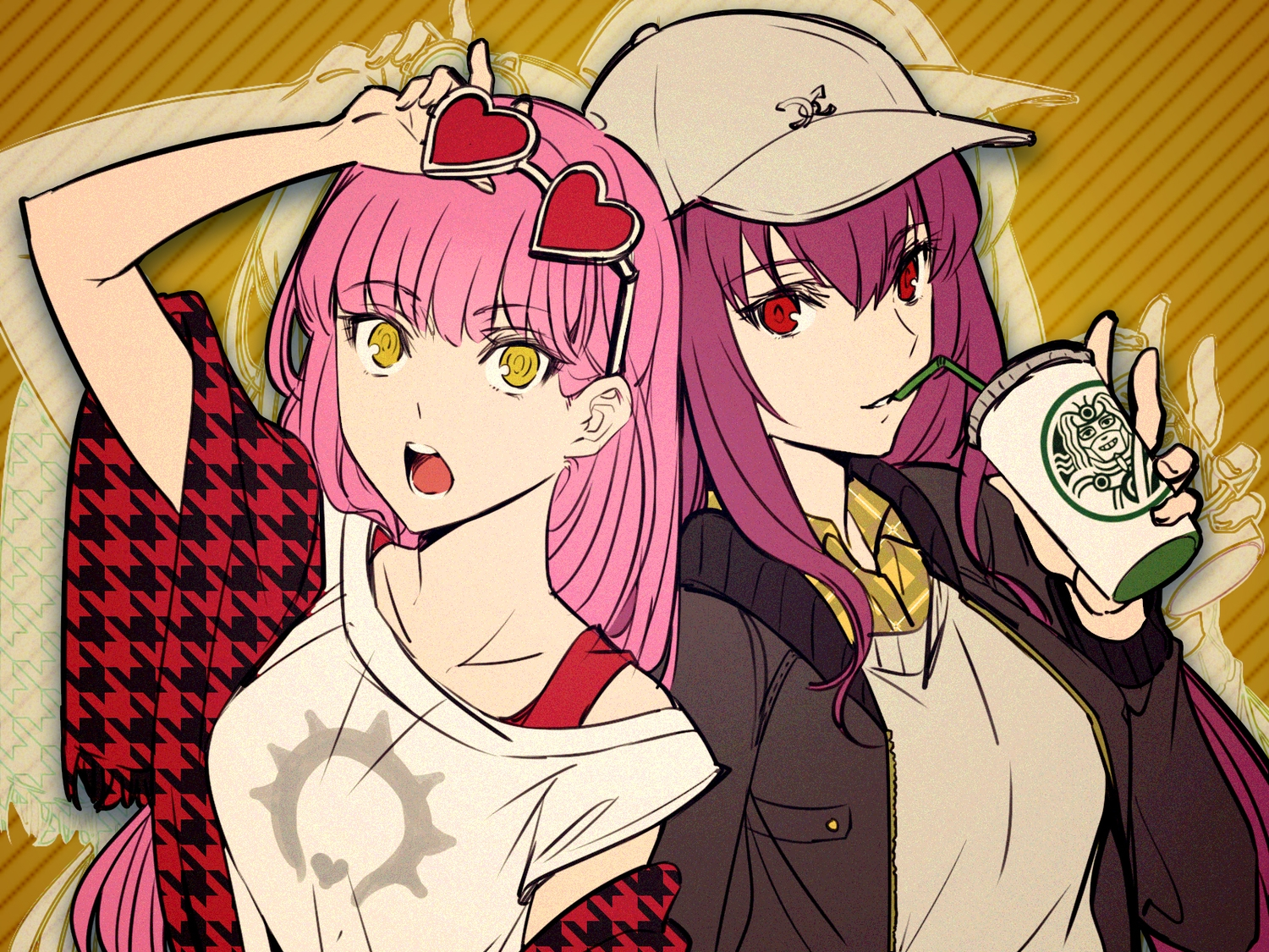 2girls drink fate/grand_order fate_(series) glasses hat long_hair medb_(fate/grand_order) pink_hair purple_hair red_eyes scathach_(fate/grand_order) shimo_(s_kaminaka) yellow_eyes
