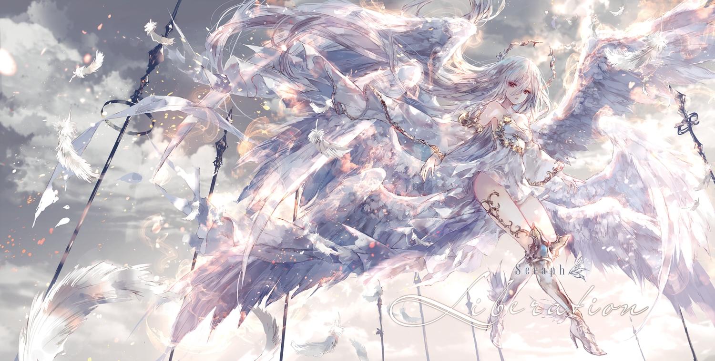 clouds dress feathers long_hair onineko original polychromatic sky white_hair wings