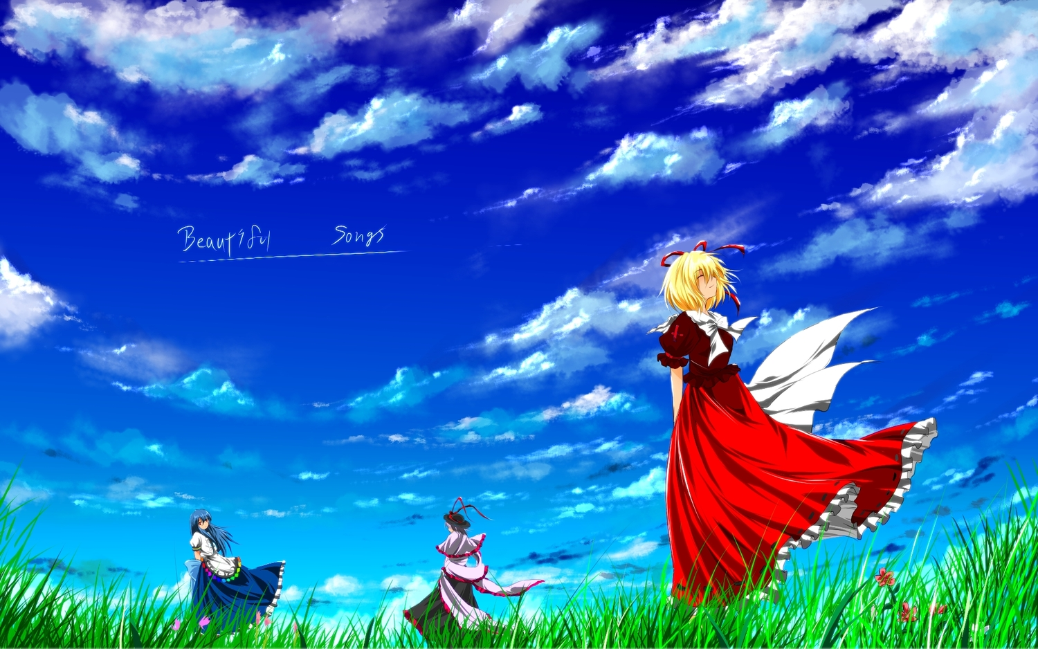 blonde_hair blue_hair clouds grass hat hinanawi_tenshi long_hair medicine_melancholy nagae_iku nekominase ribbons short_hair sky touhou