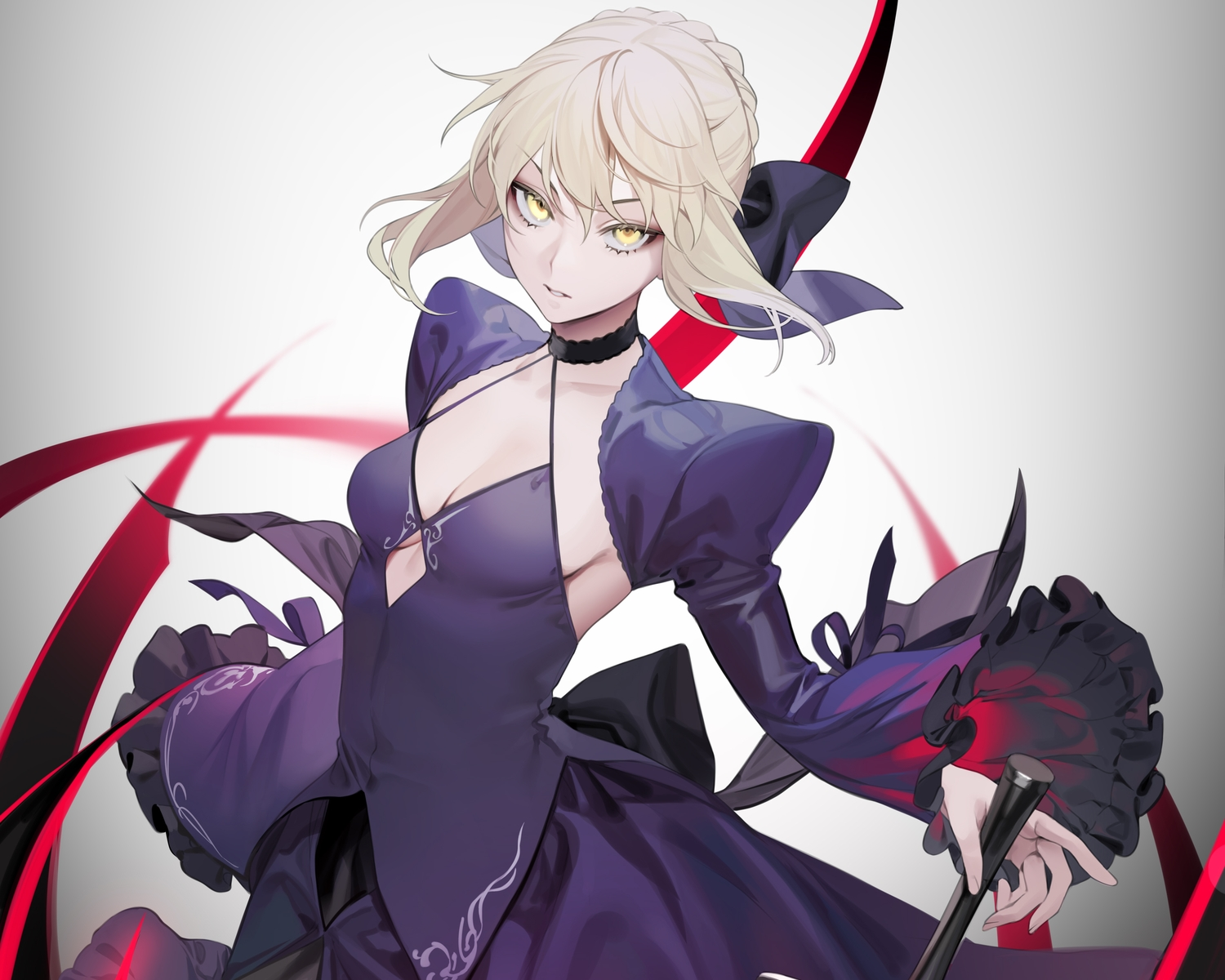 artoria_pendragon_(all) blonde_hair breasts choker cleavage cropped dress fate_(series) fate/stay_night gradient ohisashiburi saber saber_alter sword weapon yellow_eyes