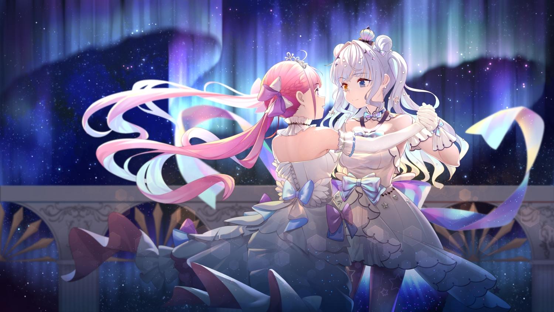 2girls bicolored_eyes hololive kagura_mea kagura_mea_channel minato_aqua pink_hair shoujo_ai twintails yao_unripe