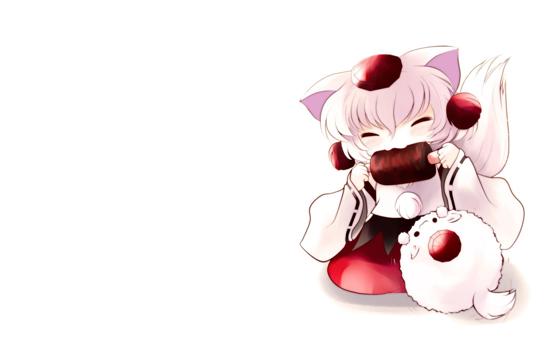 animal_ears chibi food hat inubashiri_momiji tail touhou white wolfgirl yume_shokunin
