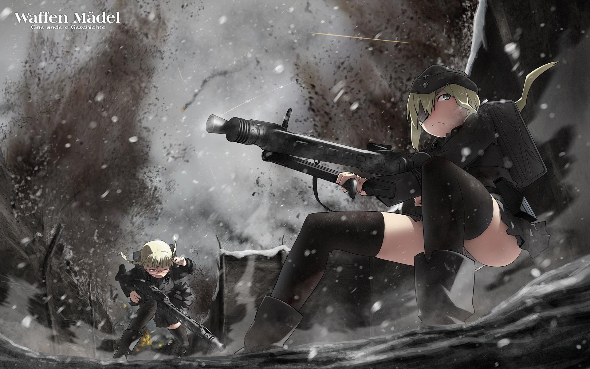 blonde_hair eyepatch glasses gun ling_(cg_sky) miharu original panties skirt thighhighs underwear weapon