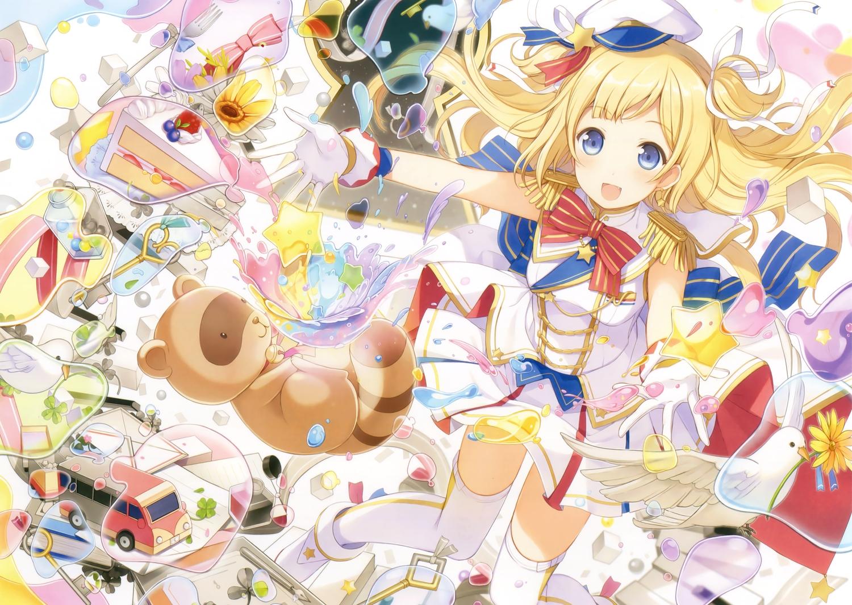 6u_(eternal_land) animal bird blonde_hair blue_eyes boots bow cake flowers food gloves hat original scan skirt stars thighhighs zettai_ryouiki