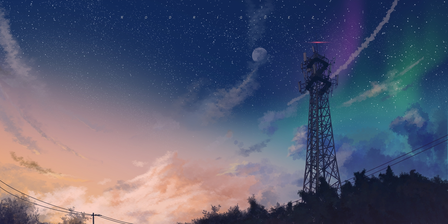 clouds moon nobody original rodriguez_(kamwing) scenic sky stars sunset tree watermark