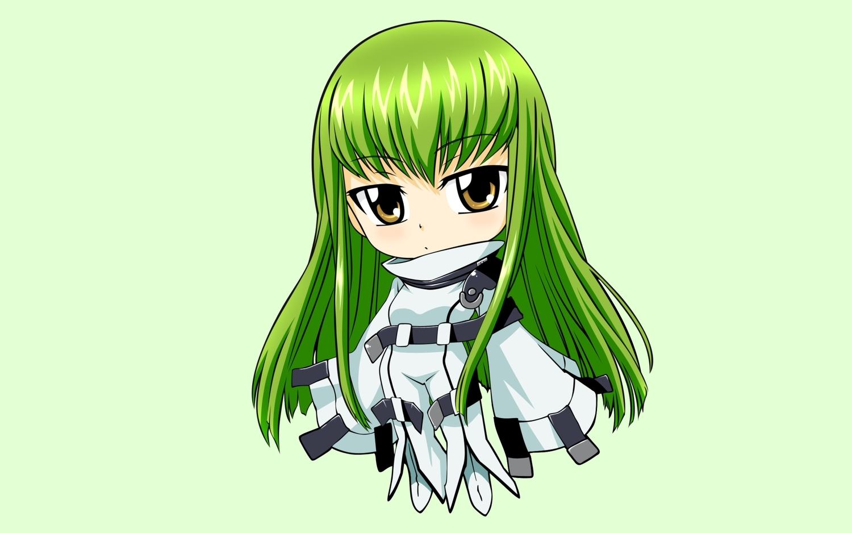 cc chibi code_geass green green_hair long_hair vector yellow_eyes