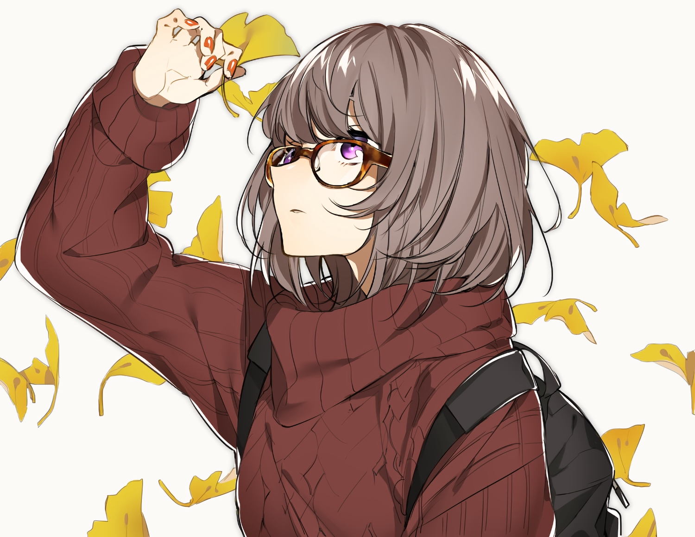 autumn brown_hair glasses leaves original purple_eyes short_hair sino42 waifu2x
