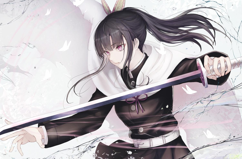 black_hair cape katana kimetsu_no_yaiba long_hair marumoru ponytail purple_eyes sword tsuyuri_kanao uniform water weapon