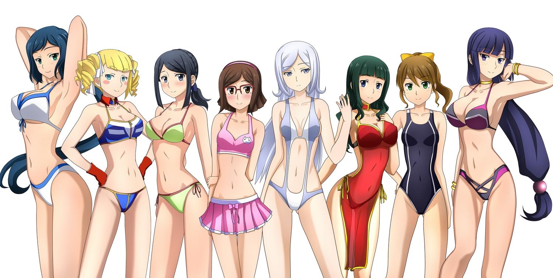 aila_jyrkiainen bikini gundam_build_fighters gundam_(series) iori_rinko jpeg_artifacts kenken kousaka_china mihoshi_(gundam_bf) misaki_(gundam_bf) ootake_akemi samejima_yukari swimsuit tagme yajima_caroline